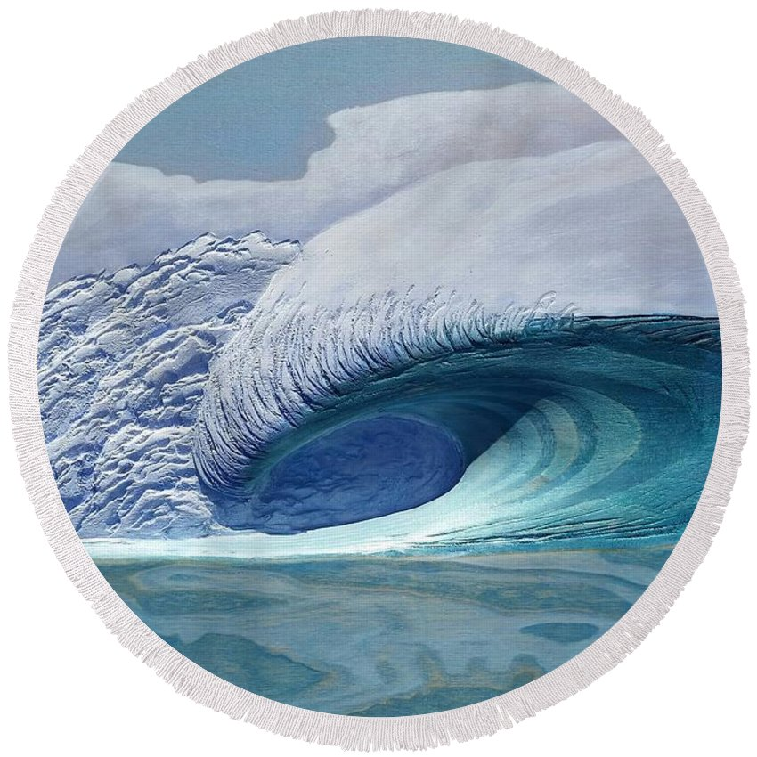 Surf Art Round Beach Towel featuring the painting Pacific Dream by Nathan Ledyard