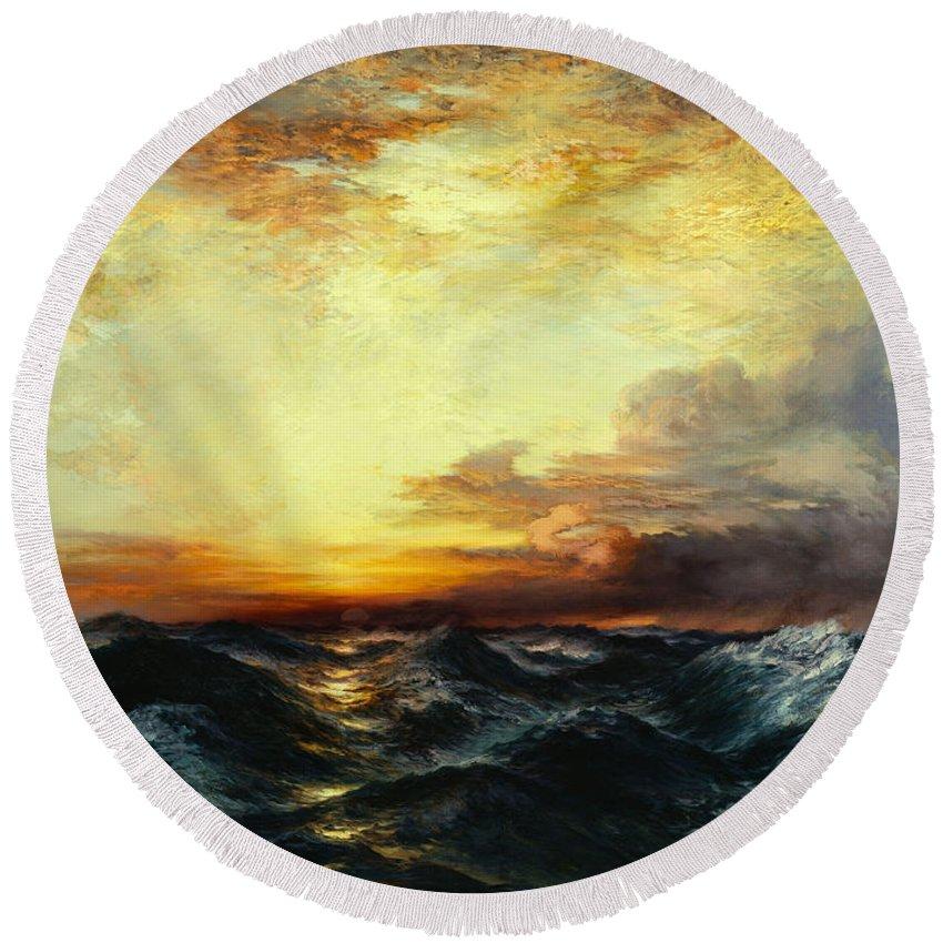 Thomas Moran Round Beach Towel featuring the painting Pacific Sunset by Thomas Moran