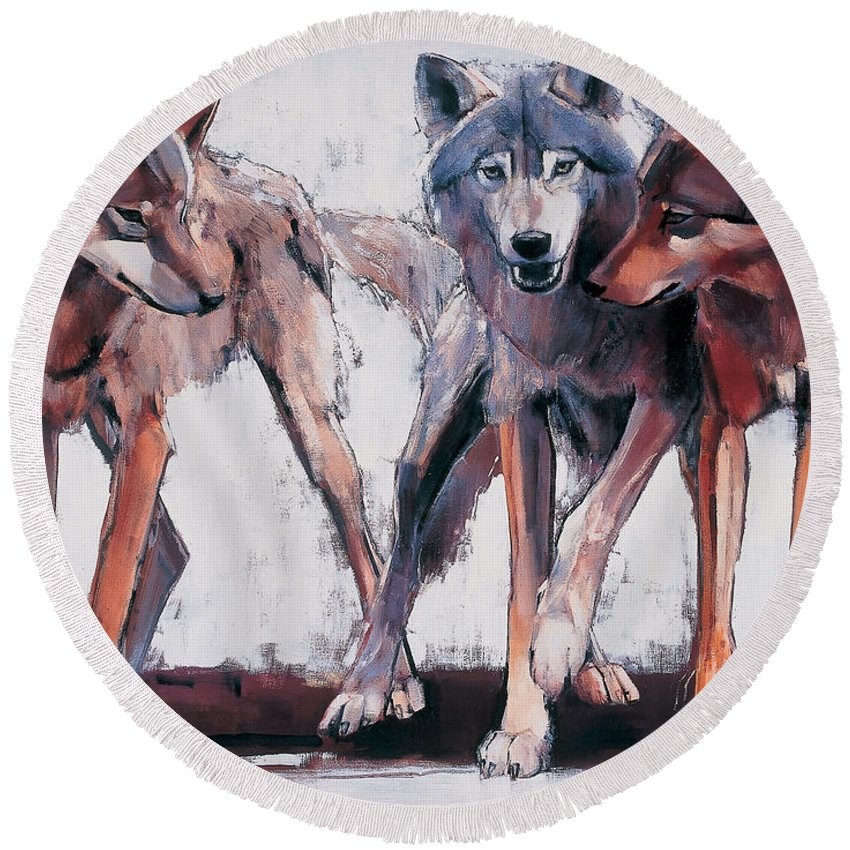 Wolf Round Beach Towels