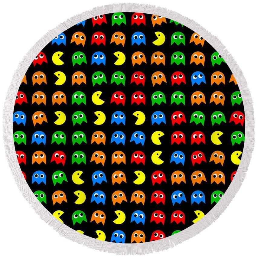Pacman Round Beach Towel featuring the digital art Pacman Seamless Generated Pattern by Miroslav Nemecek
