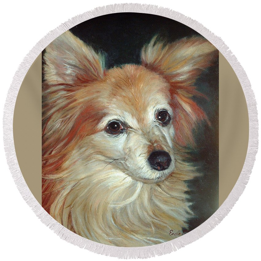 Pet Portraits Round Beach Towel featuring the painting Paco The Papillion by Portraits By NC
