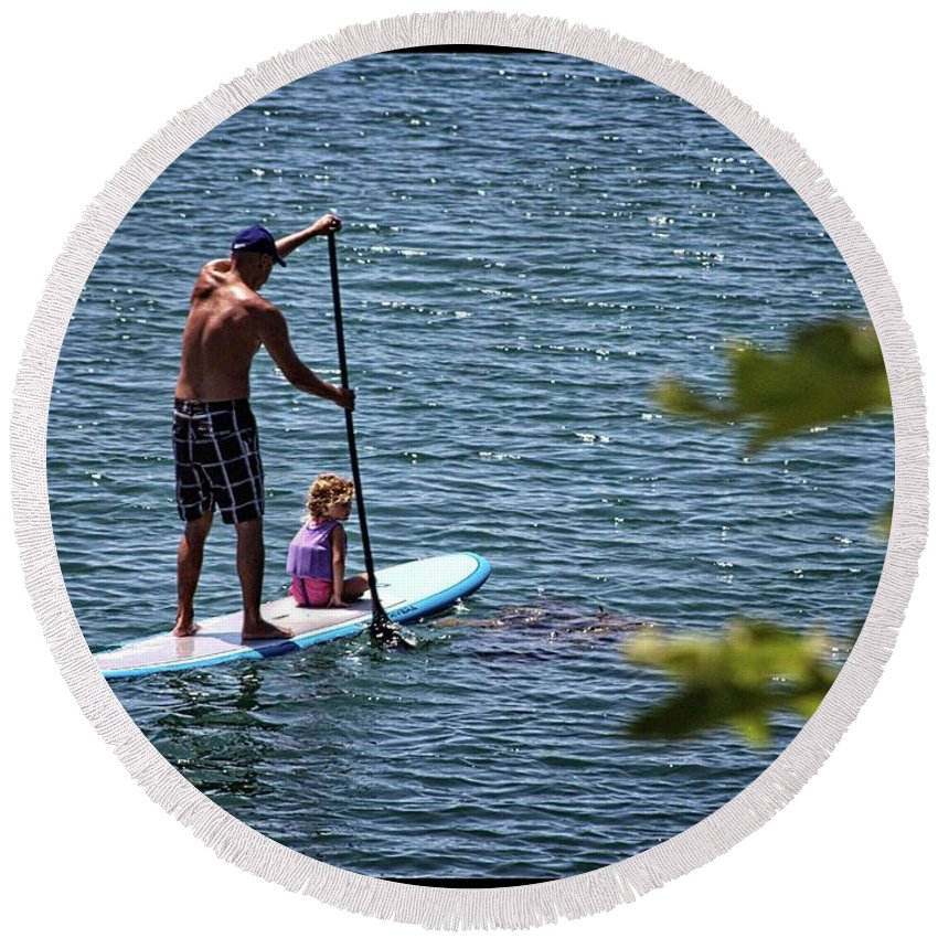 Paddle Board Round Beach Towel featuring the photograph Paddle Board by Roger Skougard