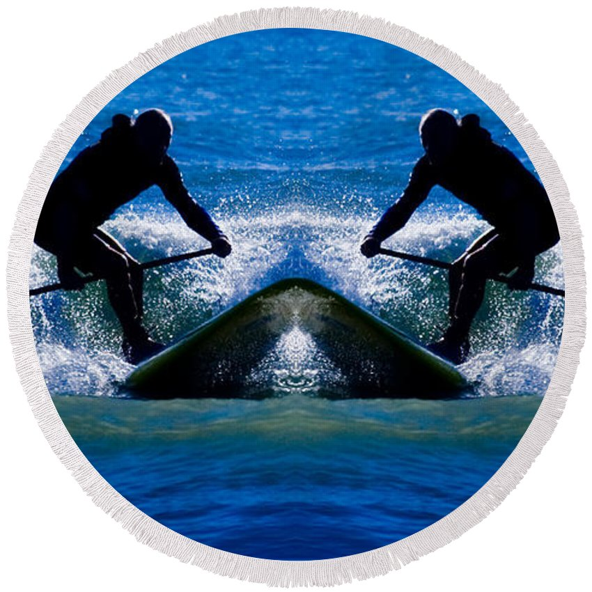 Paddle Boarding Round Beach Towel featuring the photograph Paddleboarding X 2 by Betsy Knapp
