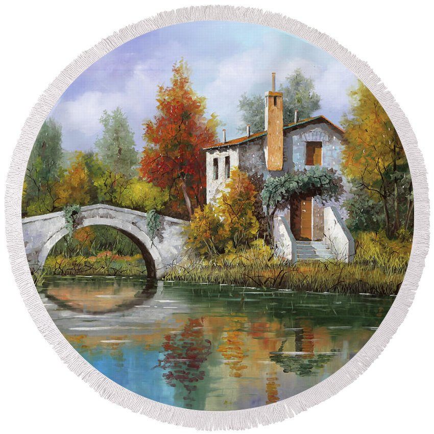 Landscape Round Beach Towel featuring the painting Paesaggio Pastellato by Guido Borelli