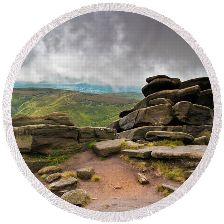 Landscape Round Beach Towel featuring the photograph Pagoda #1, Kinder Scout, Peak District, North West England by Anthony Lawlor
