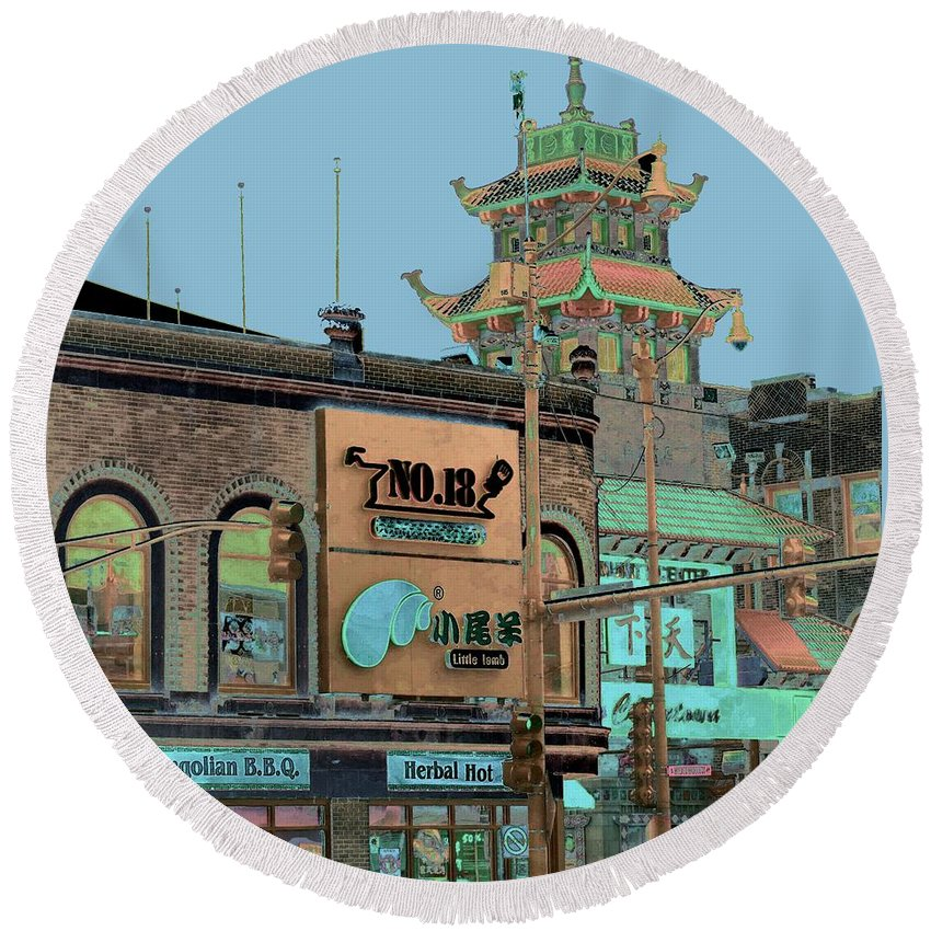 China Town Round Beach Towel featuring the photograph Pagoda Tower Chinatown Chicago by Marianne Dow