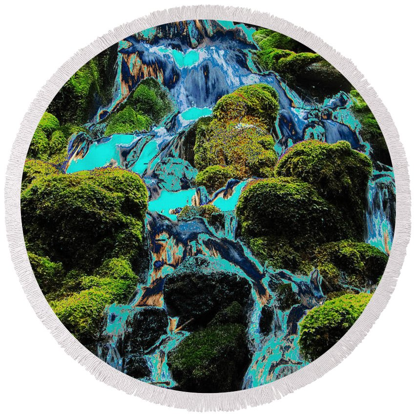 Green Round Beach Towel featuring the photograph Paint Bucket Waterfall by Teri Schuster