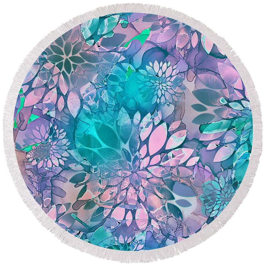 Nature Round Beach Towel featuring the mixed media Painted Background Floral Pattern by Klara Acel