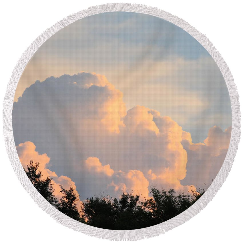 Clouds Round Beach Towel featuring the photograph Painted Clouds by Alisha Paul
