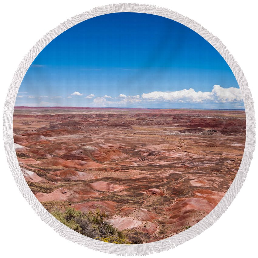 Painted Round Beach Towel featuring the photograph Painted Desert #10 by Robert J Caputo
