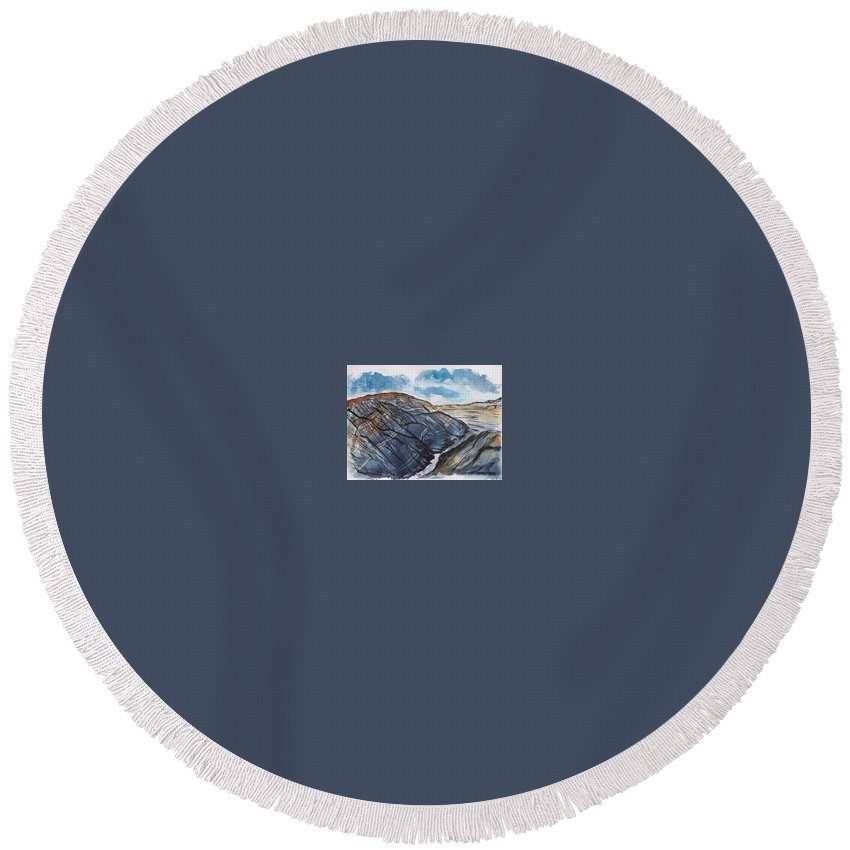 Plein Air Round Beach Towel featuring the painting Painted Desert Landscape Mountain Desert Fine Art by Derek Mccrea