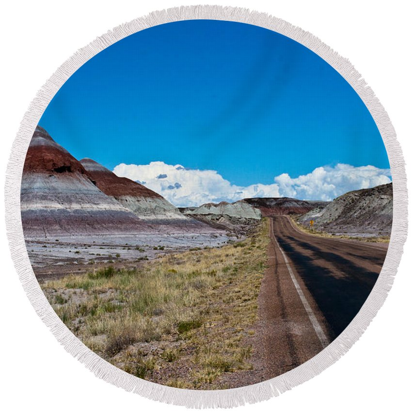 Painted Round Beach Towel featuring the photograph Painted Desert Road #3 by Robert J Caputo