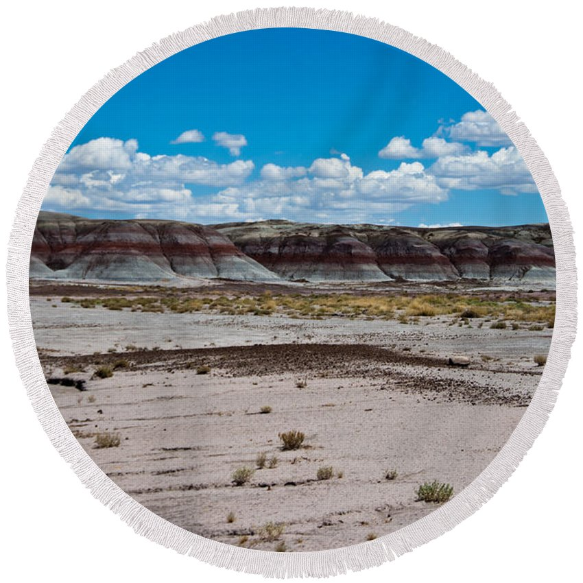 Painted Round Beach Towel featuring the photograph Painted Desert by Robert J Caputo