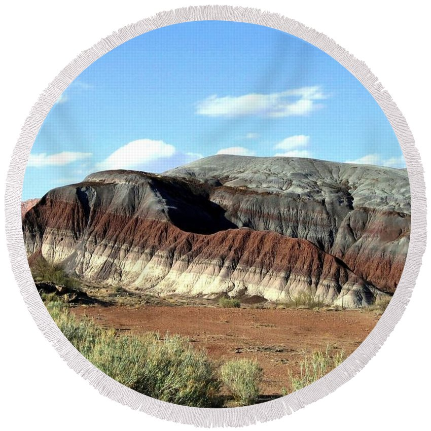 Arizona Round Beach Towel featuring the photograph Painted Desert by Will Borden