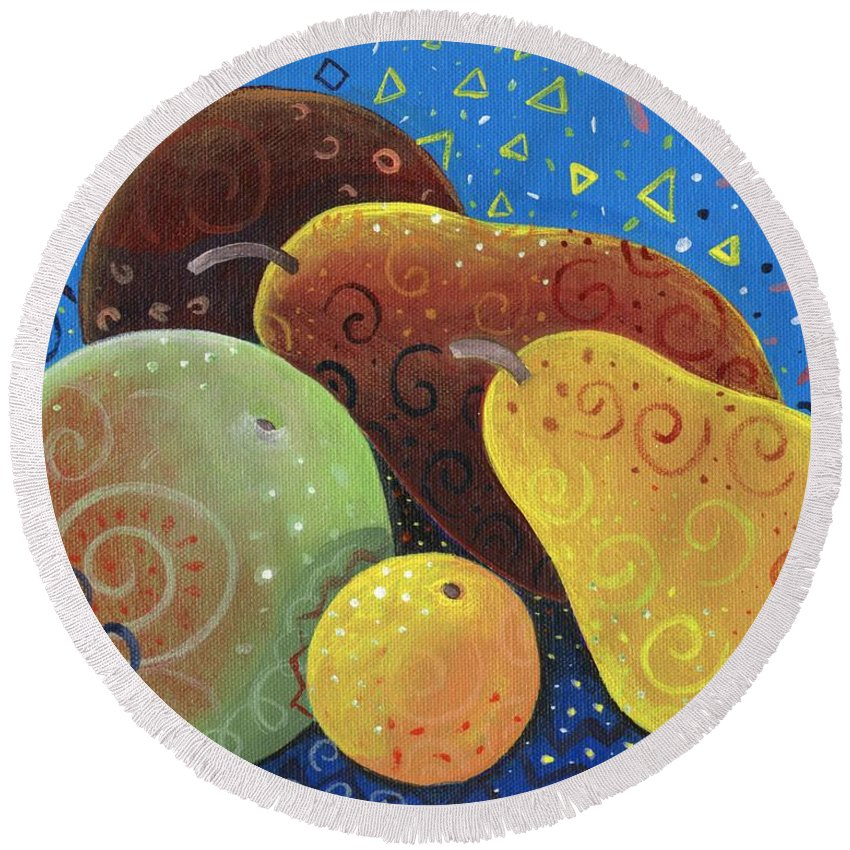 Fruit Round Beach Towel featuring the painting Painted Fruit by Helena Tiainen