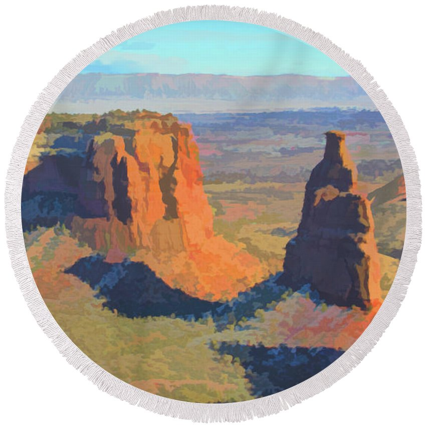Colorado Round Beach Towel featuring the photograph Painted Mesa by Steven Parker