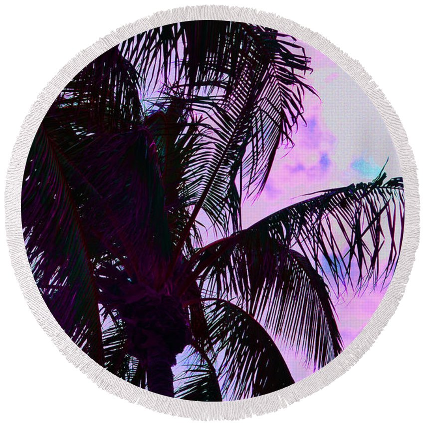 Abstract Round Beach Towel featuring the photograph Painted Palms 4 by Maria Keady