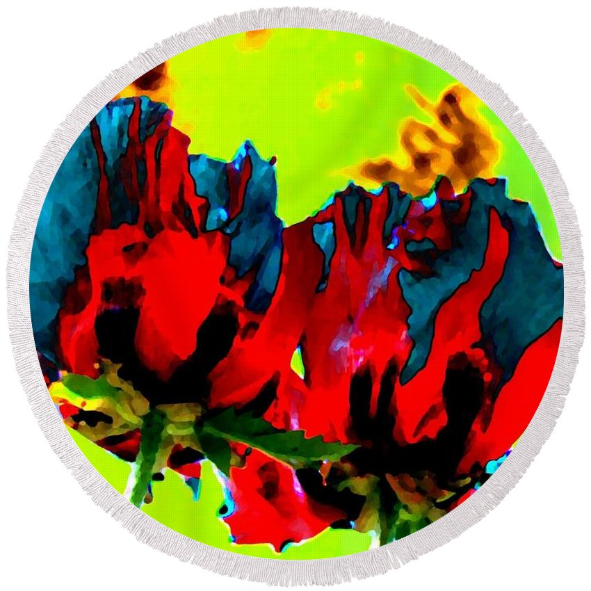Poppies Round Beach Towel featuring the digital art Painted Poppies by Will Borden