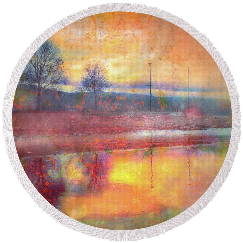Trees Round Beach Towel featuring the photograph Painted Reflections by Tara Turner