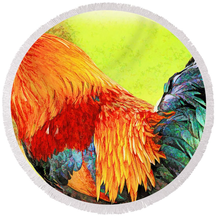 Recent Round Beach Towel featuring the photograph Painted Rooster by Geraldine Scull