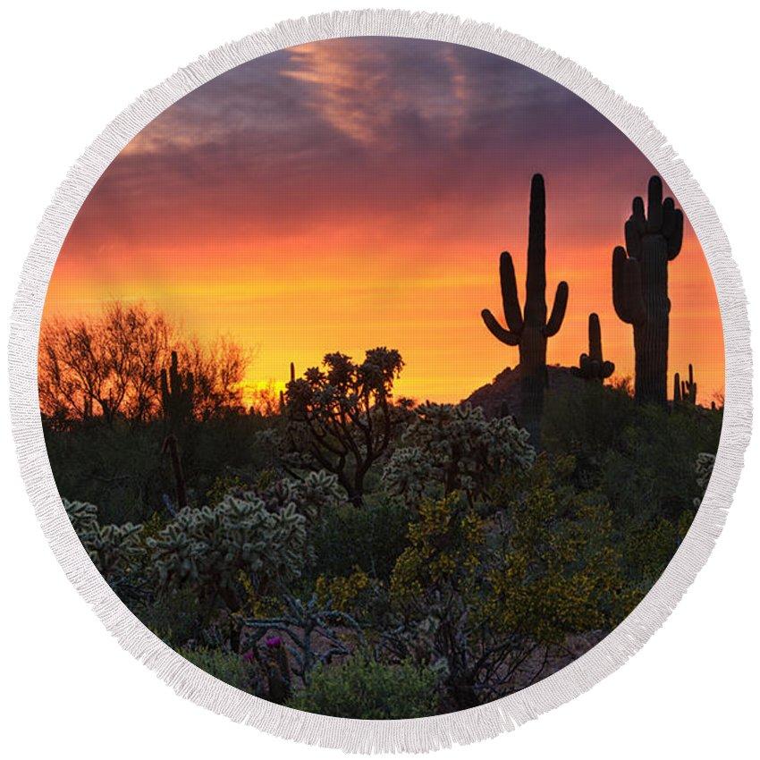 Saguaro Sunset Round Beach Towel featuring the photograph Painted Skies Of The Sonoran Desert by Saija Lehtonen