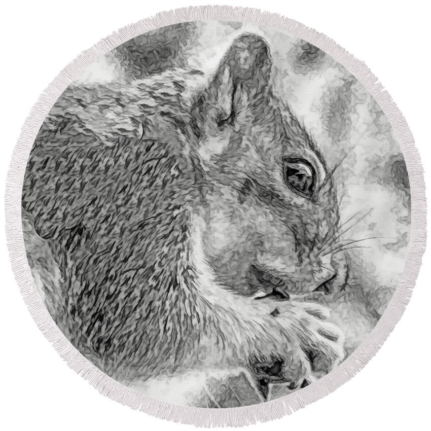 Squirrel Round Beach Towel featuring the photograph Painted Squirrel by Marshall Barth