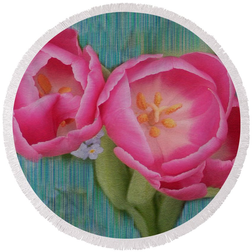 Flowers Round Beach Towel featuring the photograph Painted Tulips by Linda Sannuti