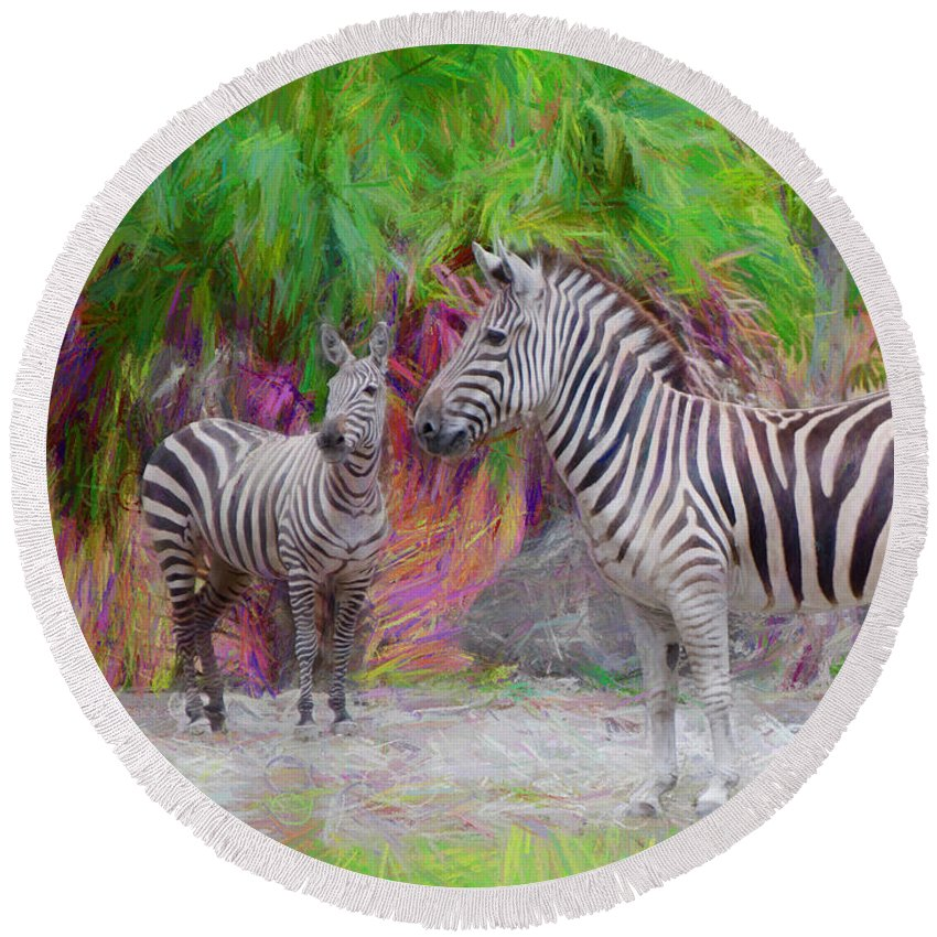 African Zebras Round Beach Towel featuring the painting Painted Zebra by Judy Kay