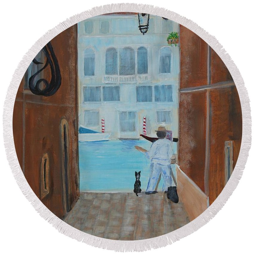 Painter Round Beach Towel featuring the painting Painter In Venice by Wanda Turner