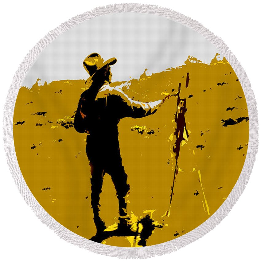 Painting Round Beach Towel featuring the painting Painting Cowboy by David Lee Thompson