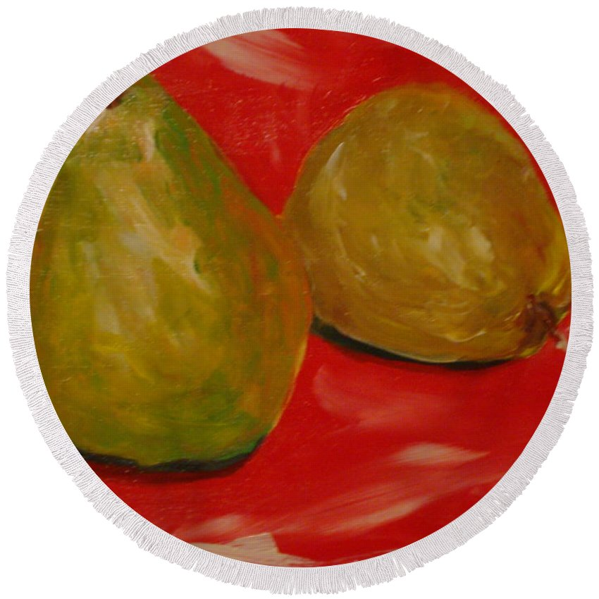 Pears Round Beach Towel featuring the painting Pair Of Pears by Melinda Etzold