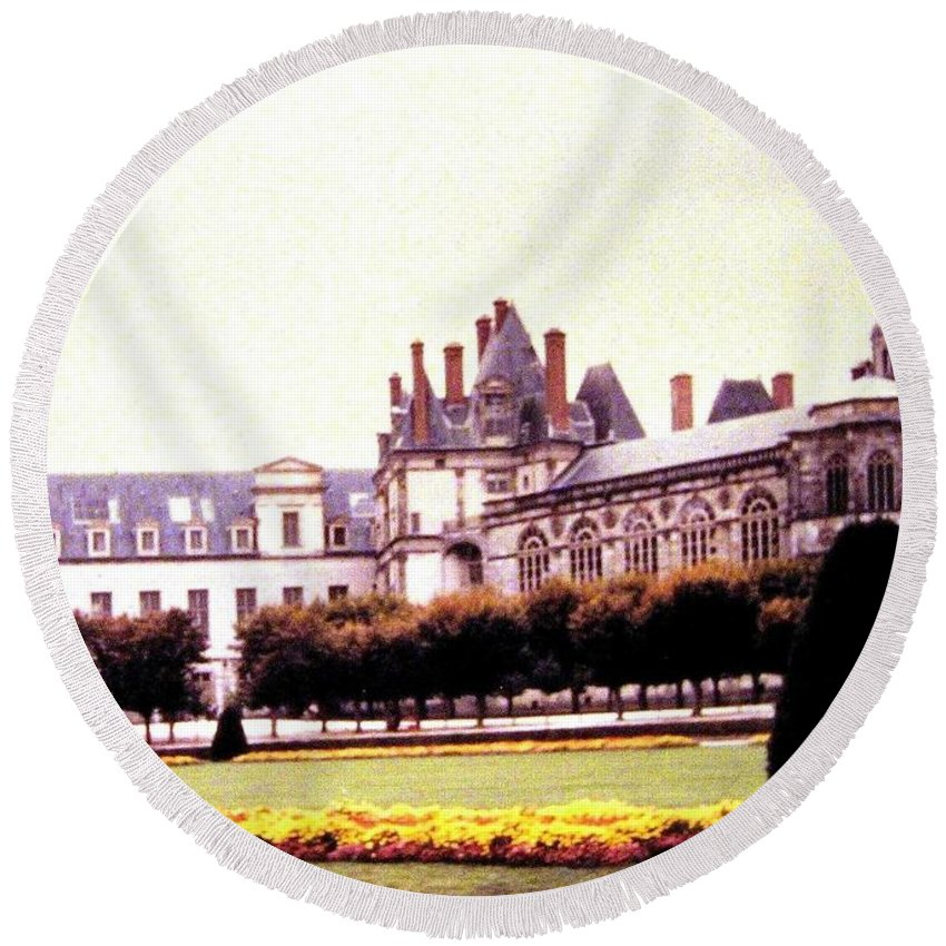1955 Round Beach Towel featuring the photograph Palace Of Fontainebleau 1955 by Will Borden