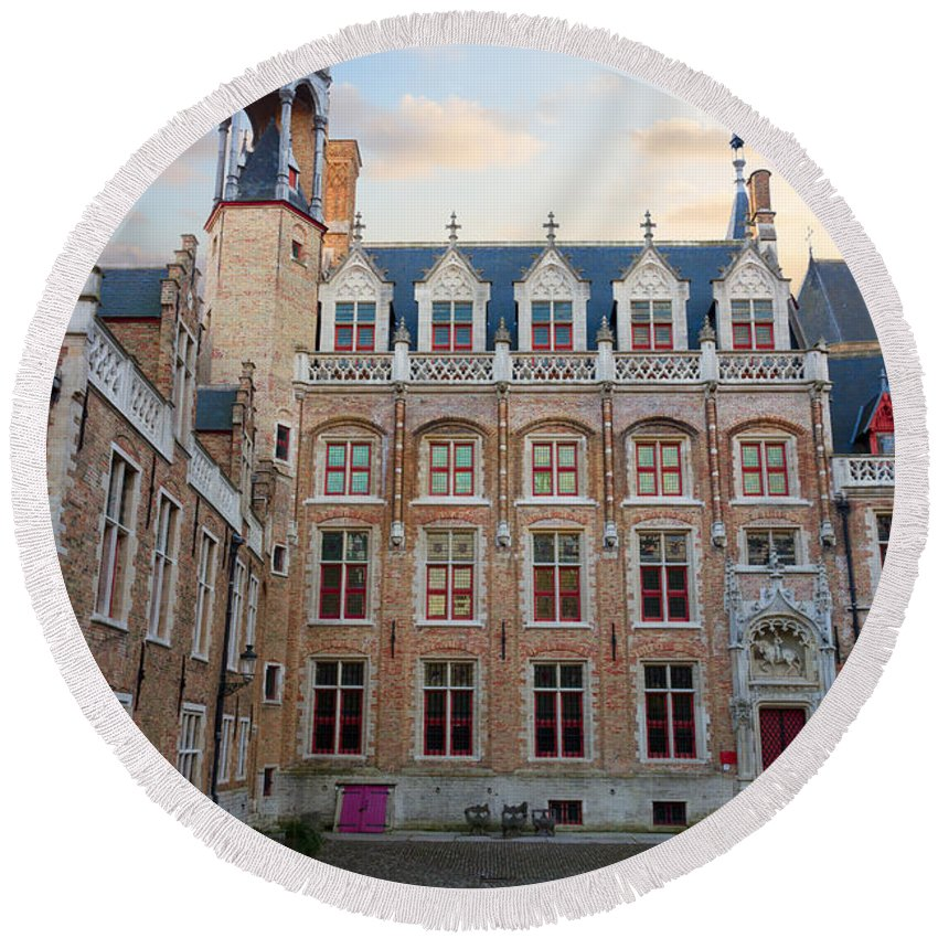 Belgium Round Beach Towel featuring the photograph Palace Of Gruuthuse In Brugge by Anastasy Yarmolovich