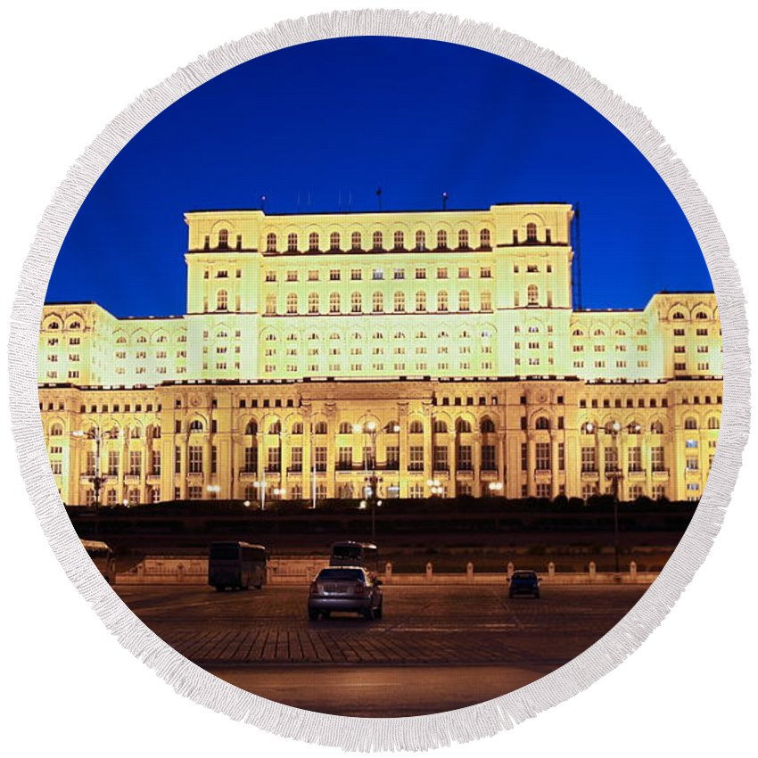 Palace Of Parliament Round Beach Towel featuring the photograph Palace Of Parliament At Night by Sally Weigand