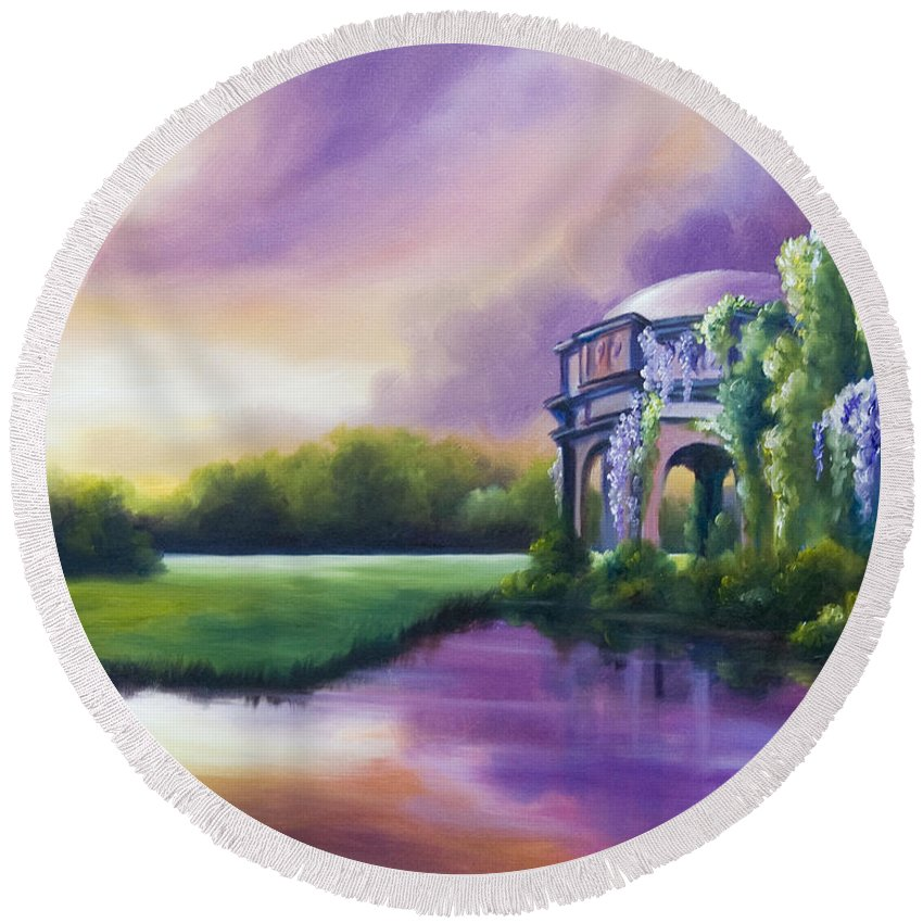 Marsh Round Beach Towel featuring the painting Palace Of The Arts by James Christopher Hill
