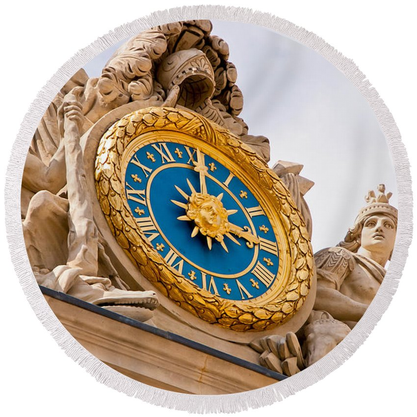 Versailles Round Beach Towel featuring the photograph Palace Of Versaille Exterior Clock by Jon Berghoff