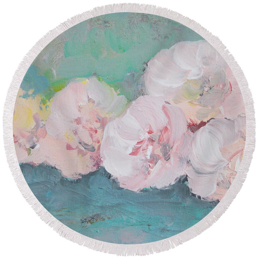 Pale Round Beach Towel featuring the painting Pale Pink Peonies by Robin Maria Pedrero