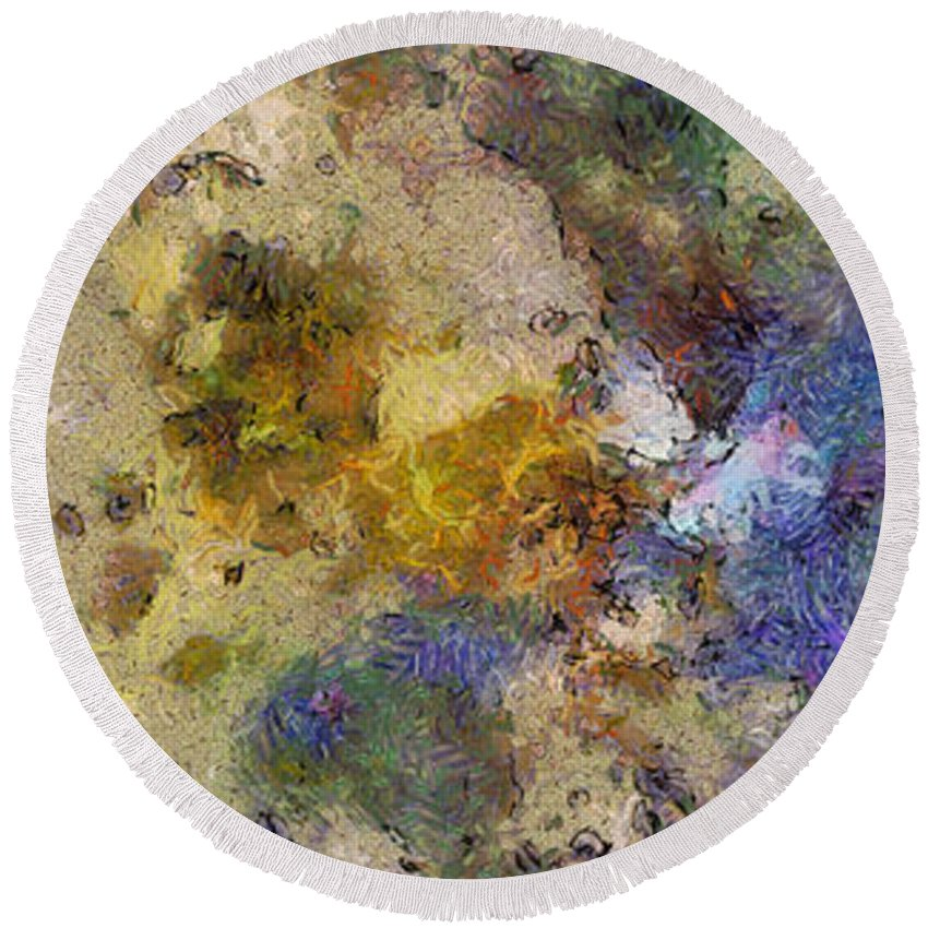 Ndr099 Round Beach Towel featuring the painting Paleology Weave Id 16097-223127-16640 by S Lurk