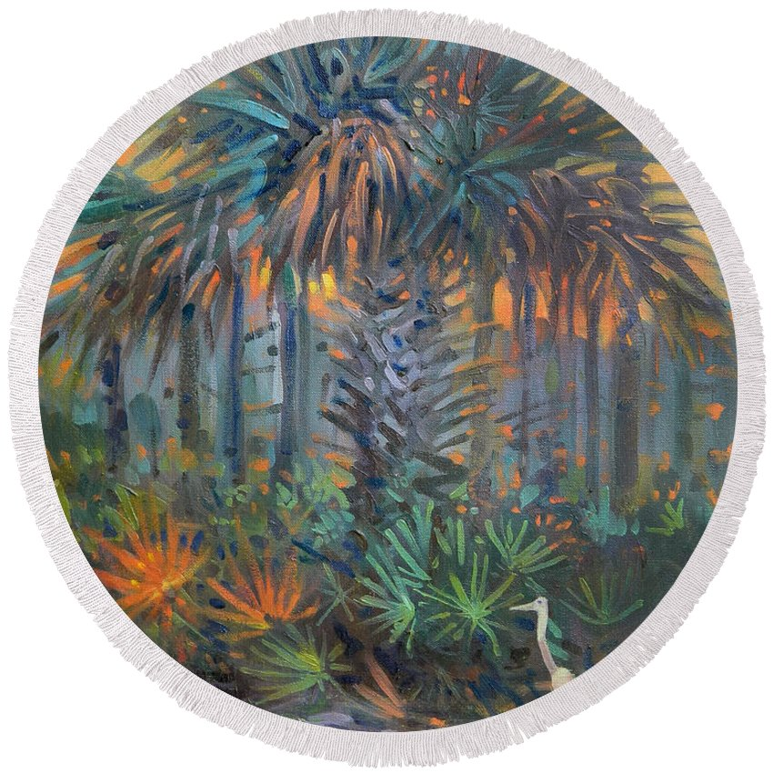 Egret Round Beach Towel featuring the painting Palm And Egret by Donald Maier