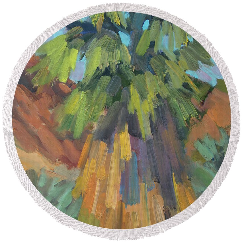 Palm Round Beach Towel featuring the painting Palm At Santa Rosa Mountains Visitors Center by Diane McClary