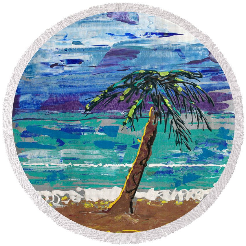 Palm Tree Round Beach Towel featuring the painting Palm Beach by J R Seymour