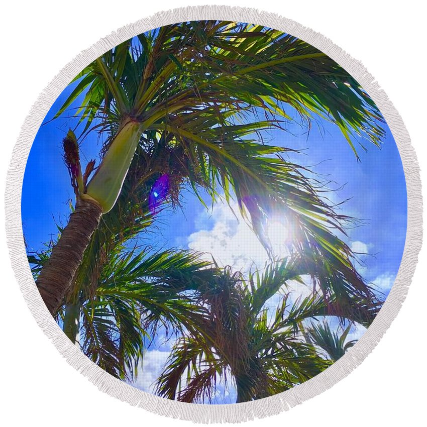 Palm Tree Round Beach Towel featuring the photograph Palm Gazing by Kevin Karolewicz