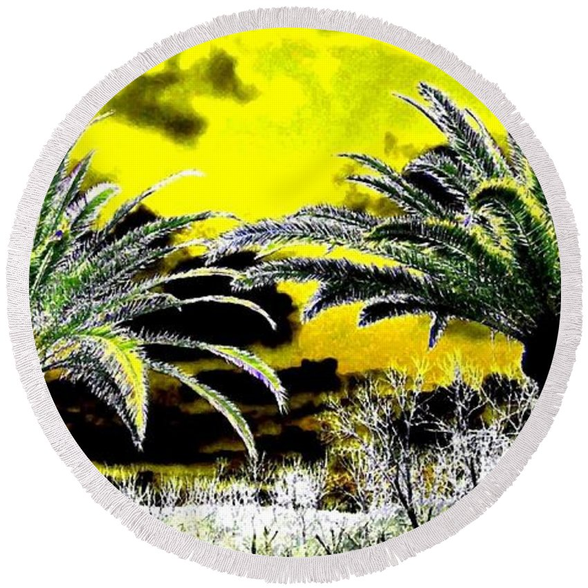 Palm Trees Round Beach Towel featuring the digital art Palm Paradise  by Will Borden