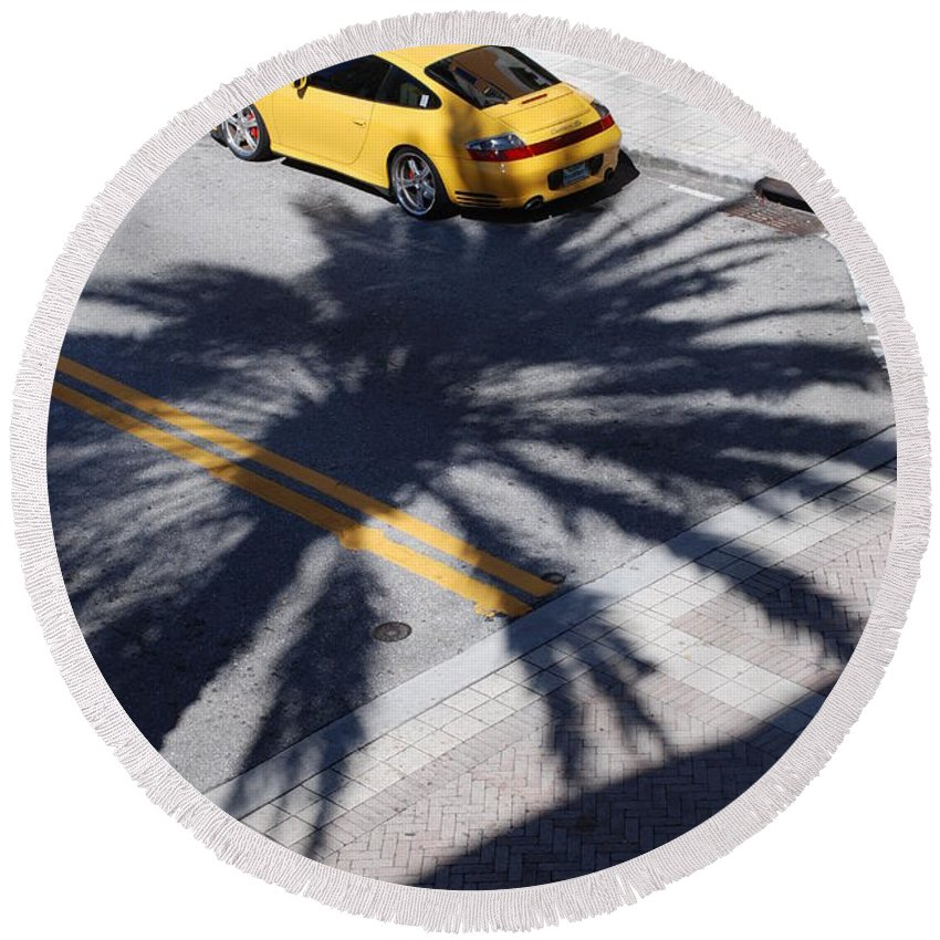 Porsche Round Beach Towel featuring the photograph Palm Porsche by Rob Hans