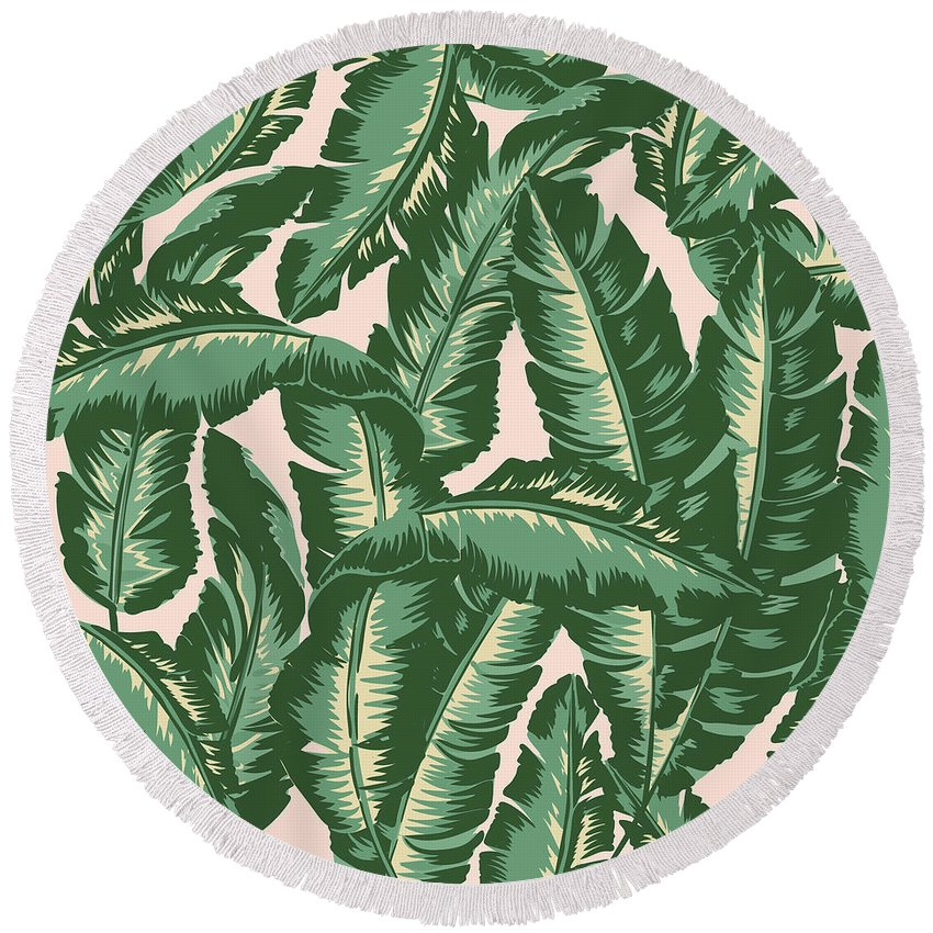 Leaves Round Beach Towel featuring the digital art Palm Print by Lauren Amelia Hughes