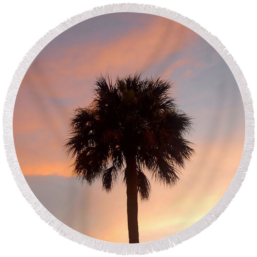 Palm Tree Round Beach Towel featuring the photograph Palm Sky by David Lee Thompson