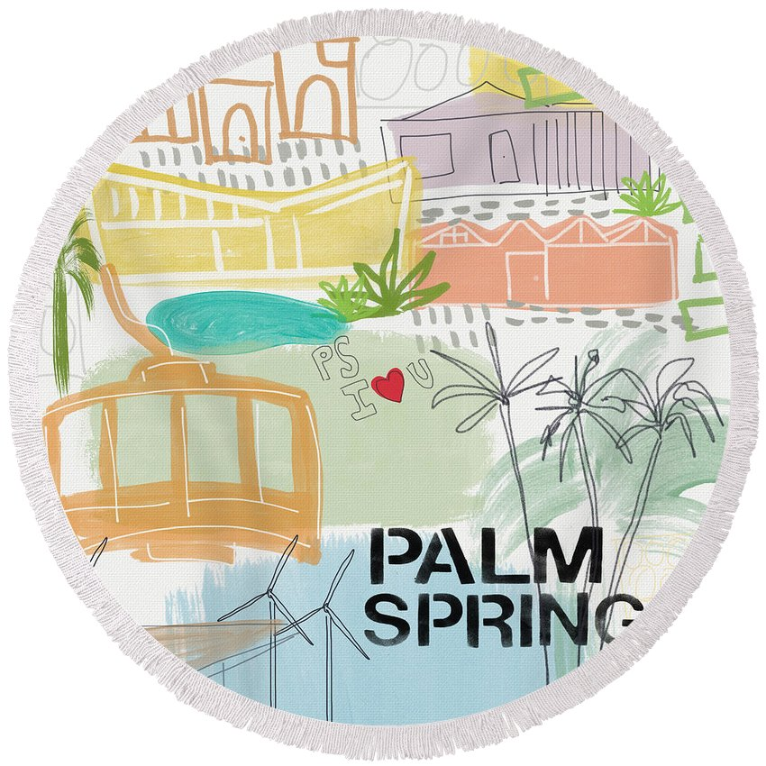 Palm Springs California Round Beach Towel featuring the painting Palm Springs Cityscape- Art by Linda Woods by Linda Woods