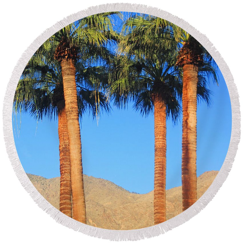 Palm Trees. Palm Springs Round Beach Towel featuring the photograph Palm Springs by Kris Hiemstra