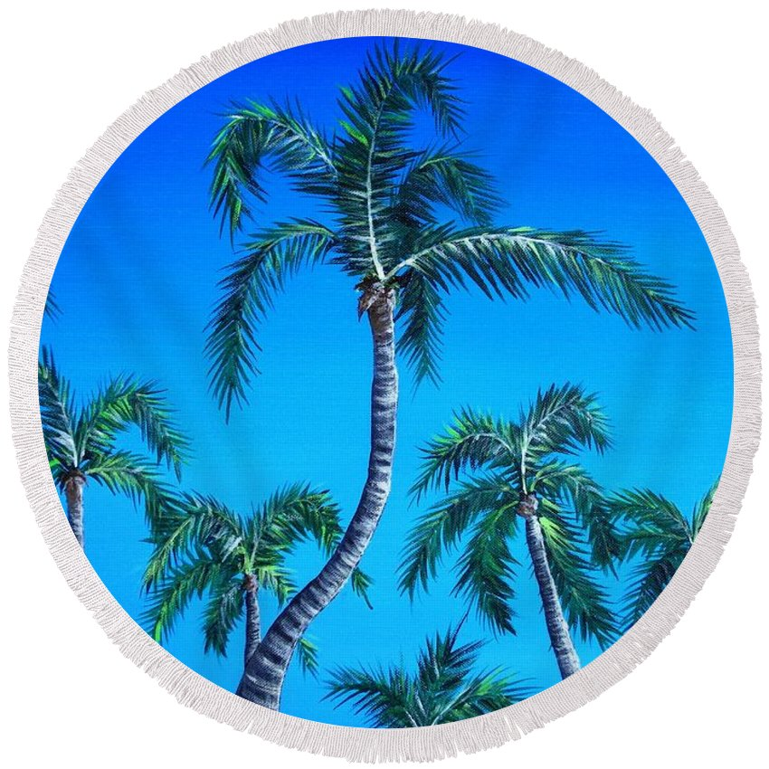 Palm Round Beach Towel featuring the painting Palm Tops by Anastasiya Malakhova