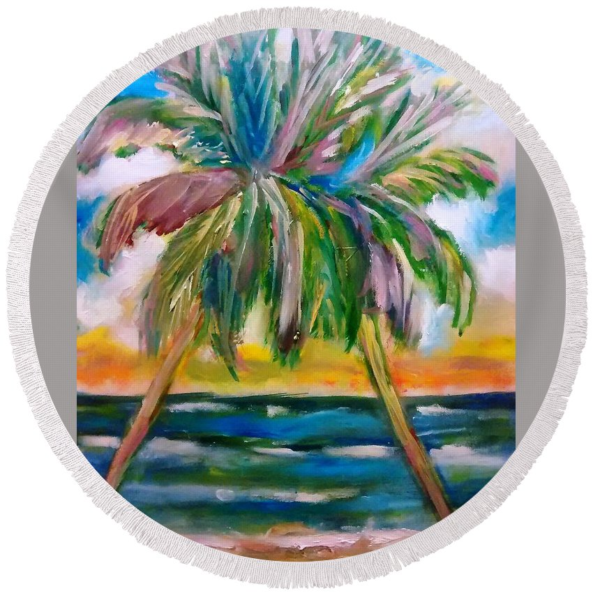Palm Trees Round Beach Towel featuring the painting Palm Tree Color Times Two by Patricia Taylor